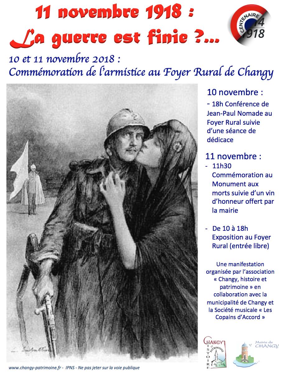 Affiche commémorations 11 novembre à Changy
