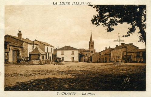 Changy, place du Champ de Foire, vers1936